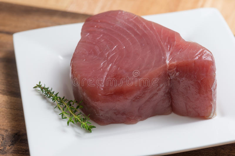 Fish Tuna Fillet. On plate royalty free stock photography