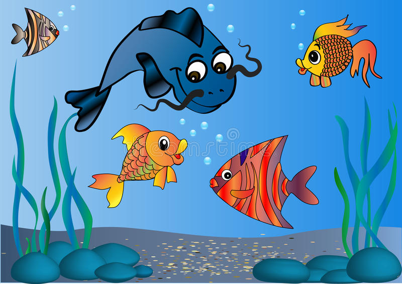 Download Fish in undersea world stock vector. Image of painting - 16438079