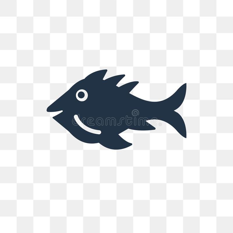 Fish vector icon isolated on transparent background, Fish trans vector illustration