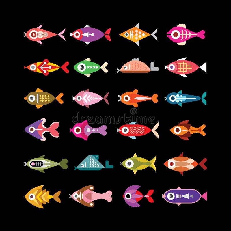 Fish vector icons on black vector illustration