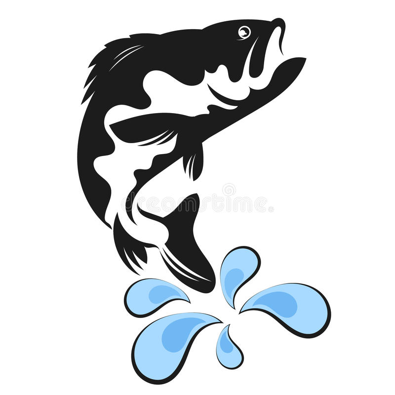Fish vector. Fish silhouette and water drops vector royalty free illustration