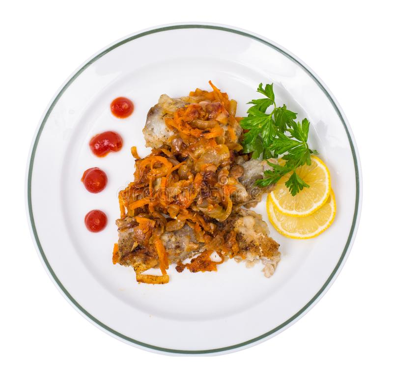 Fish with vegetable marinade. Studio Photo stock photos