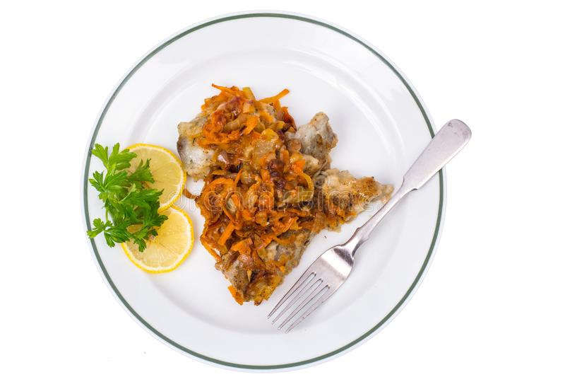 Fish with vegetable marinade. Studio Photo stock images