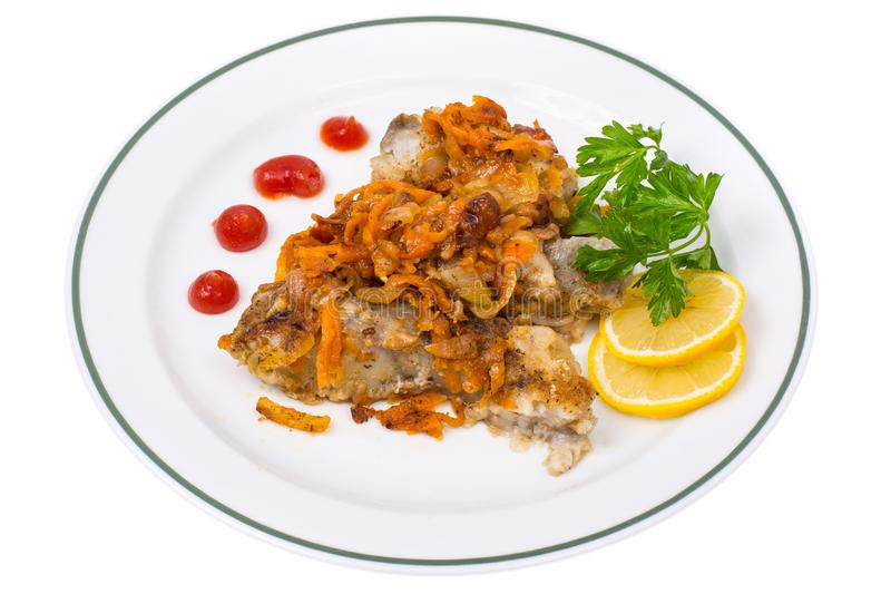 Fish with vegetable marinade. Studio Photo royalty free stock photography