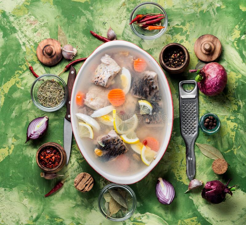 Fish and vegetables aspic royalty free stock photo