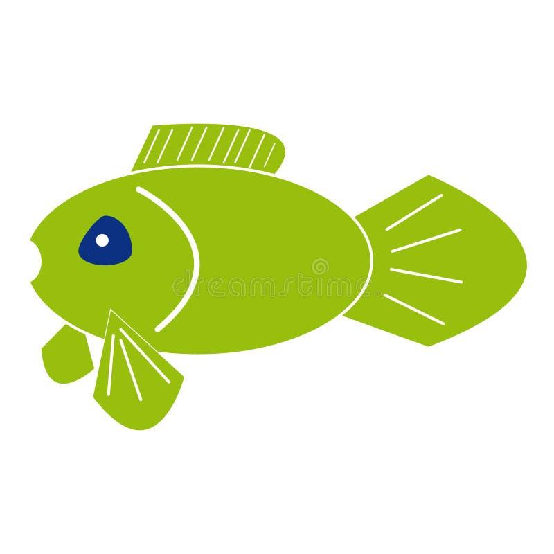 Fish on white background. Green fish on white background. Vector illustration royalty free illustration