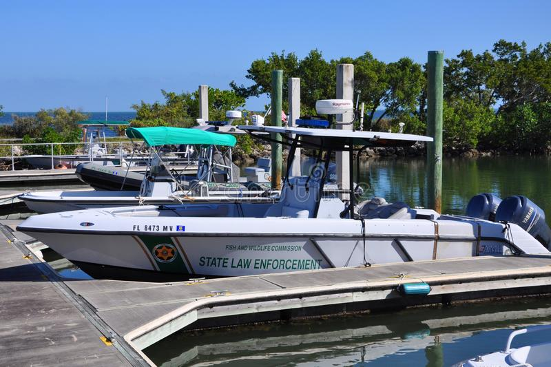 Fish and Wildlife Conservation Commission vessel, FL, USA. Fish and Wildlife Conservation Commission law enforcement vessel in Biscayne National Park, Florida stock photography