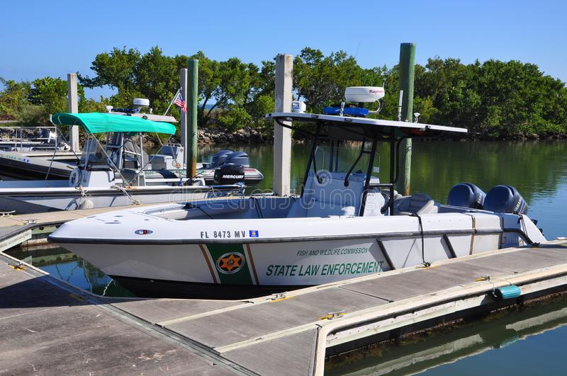 Fish and Wildlife Conservation Commission vessel, FL, USA. Fish and Wildlife Conservation Commission law enforcement vessel in Biscayne National Park, Florida stock photo