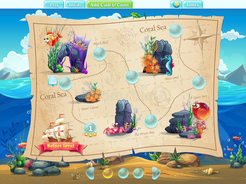 Fish world- example of selection of levels for the computer game vector illustration