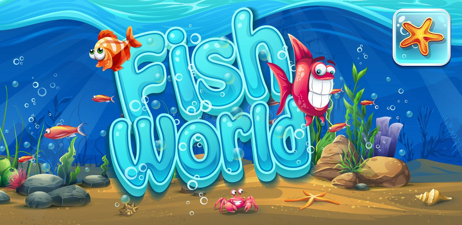 Fish world - horizontal banner, icon to the computer game royalty free illustration