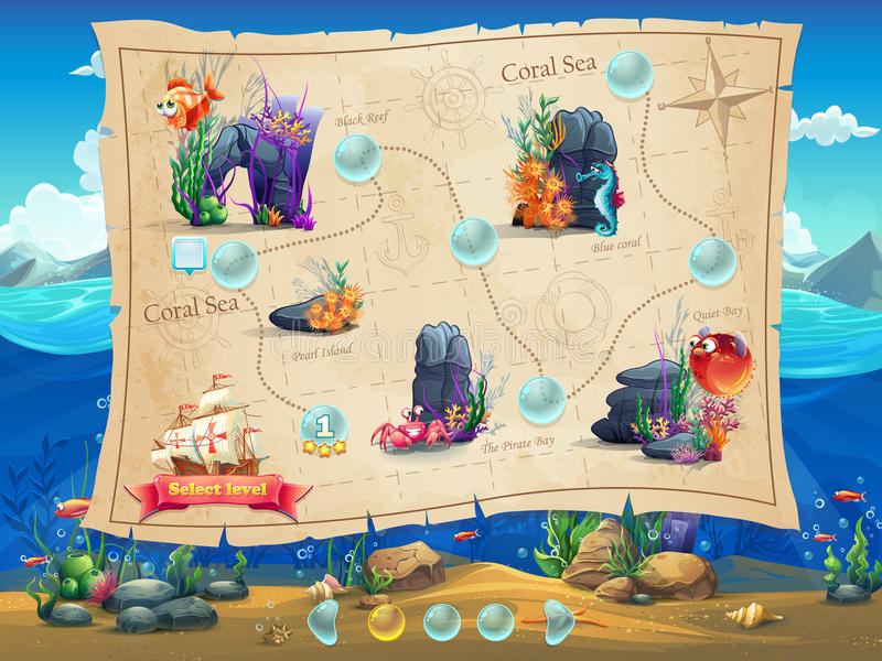 Fish world illustration example screen levels game for Fish world game