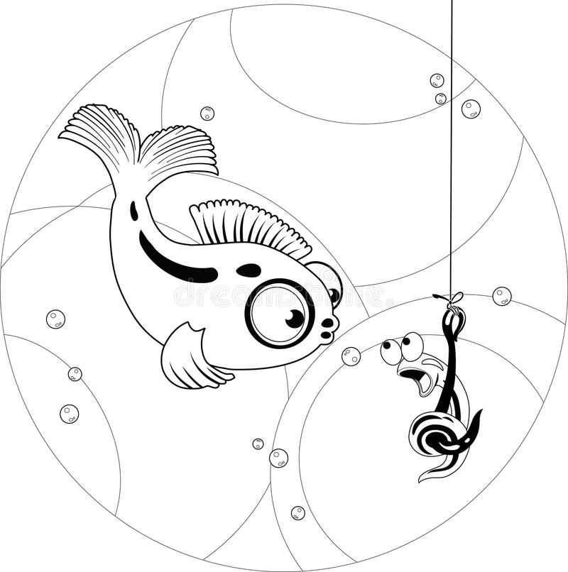 Fish and worm vector illustration