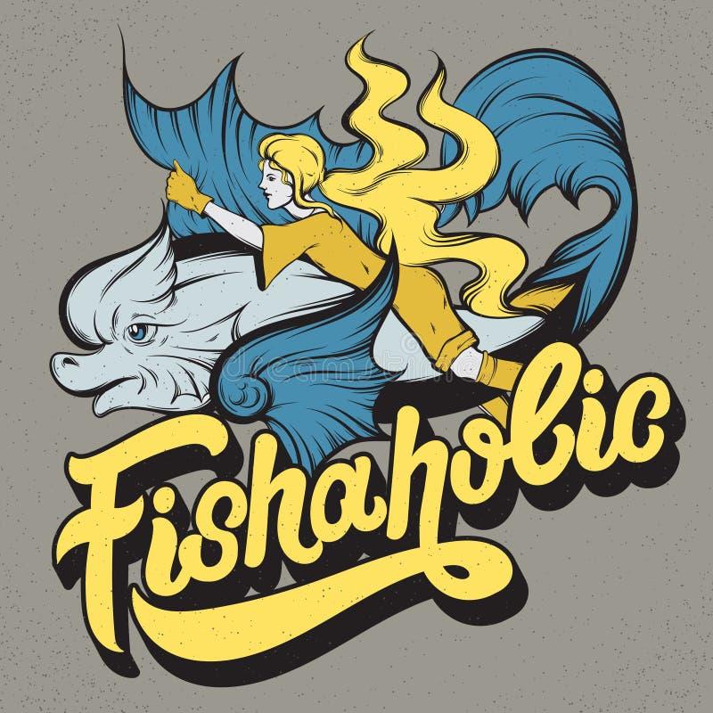 Fishaholic Χειρόγραφη εγγραφή ελεύθερη απεικόνιση δικαιώματος