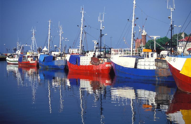 Fishboats in haven stock foto