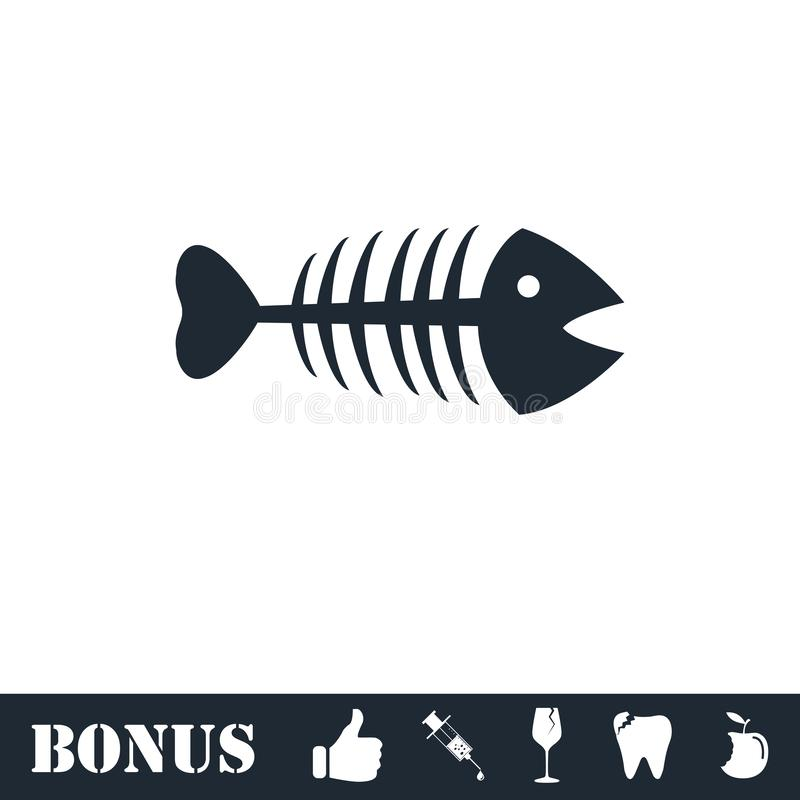 Fishbone εικονίδιο επίπεδο ελεύθερη απεικόνιση δικαιώματος