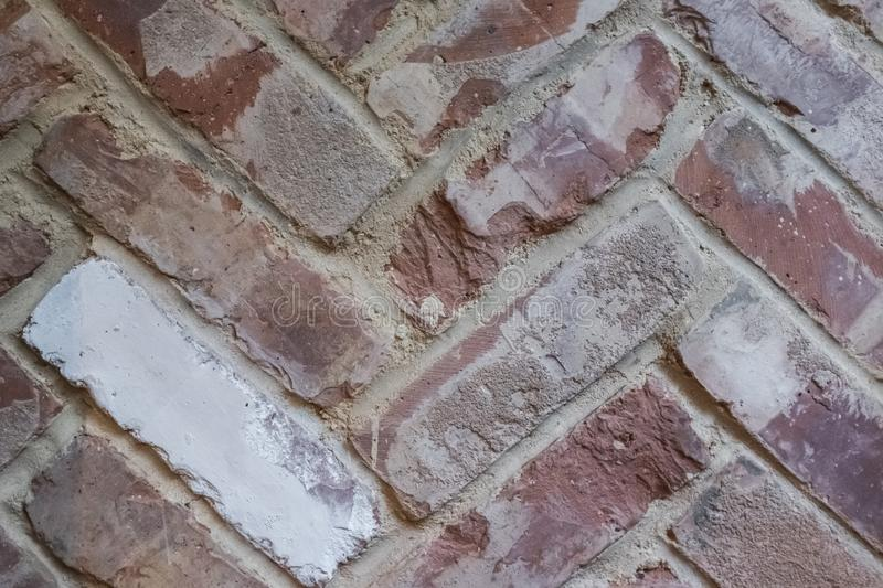 Fishbone tie exposed brickwork detail royalty free stock photos
