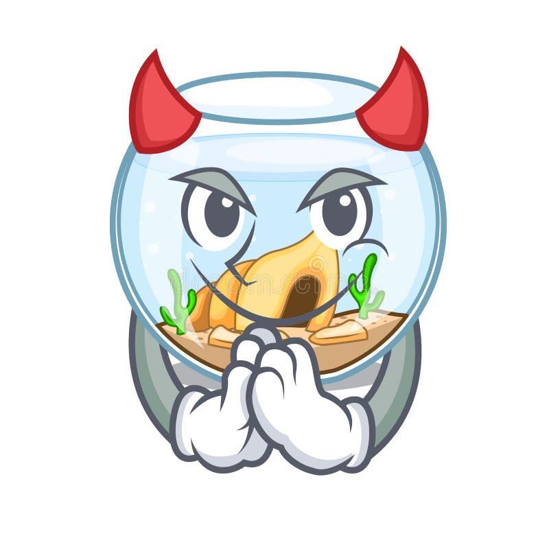 Fishbowl дьявола скача вне на характере иллюстрация вектора