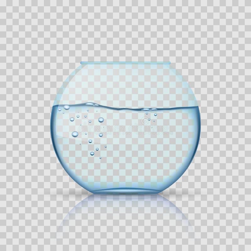 Fishbowl de cristal realista, acuario con agua en fondo transparente libre illustration