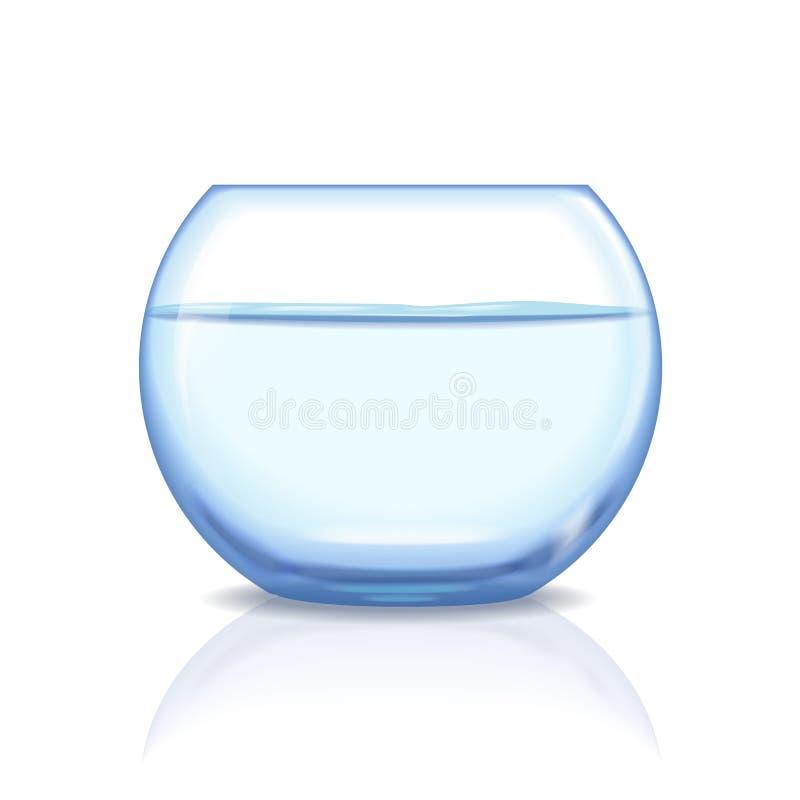Fishbowl de cristal realista, acuario con agua en fondo transparente Acuario de cristal con transparente líquido libre illustration