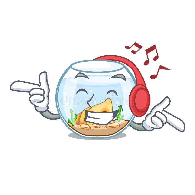 Fishbowl de la música que escucha que salta fuera de en carácter libre illustration