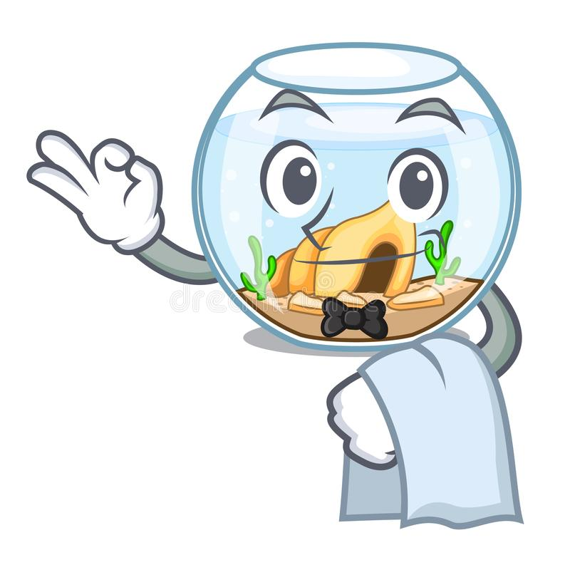 Fishbowl del camarero que salta fuera de en carácter ilustración del vector