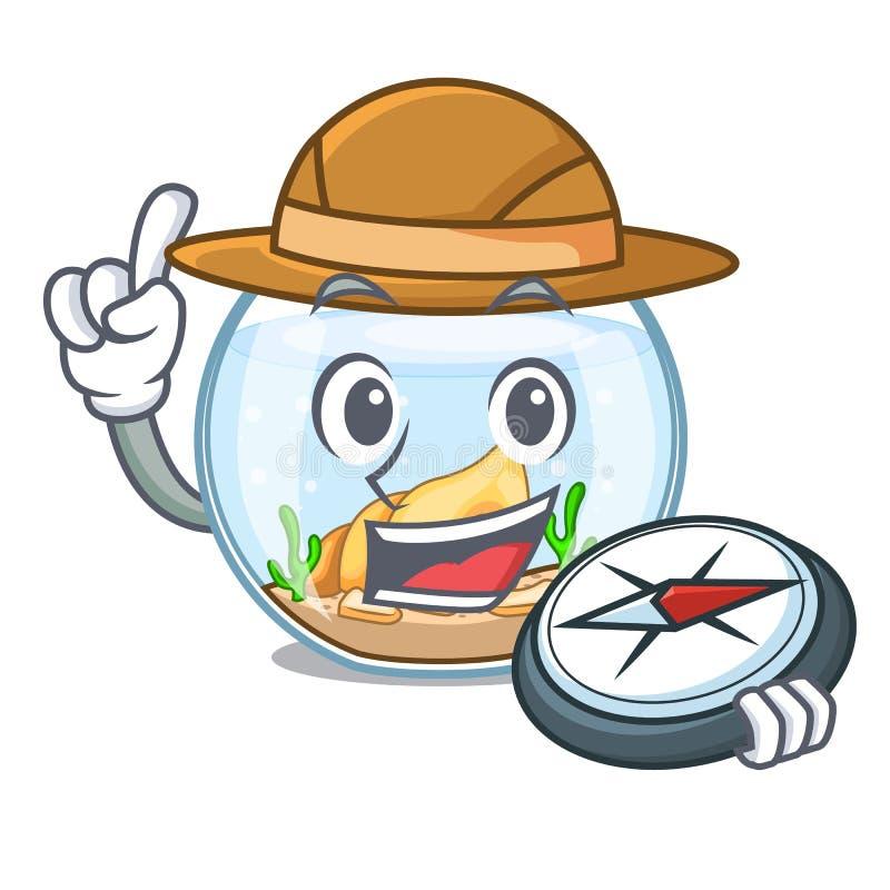 Fishbowl del explorador que salta fuera de en carácter libre illustration