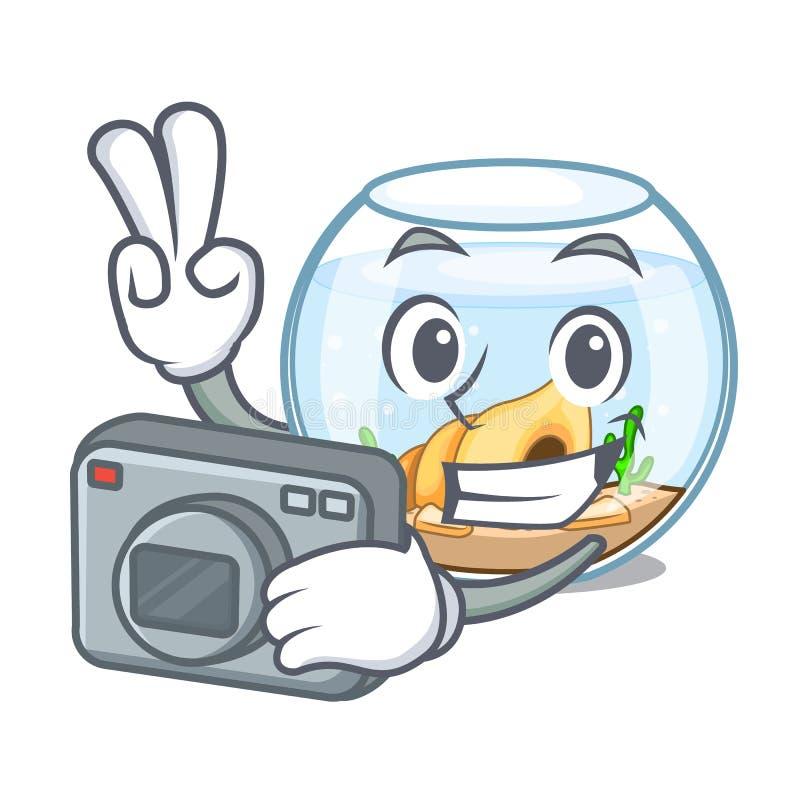 Fishbowl del fotógrafo que salta fuera de en carácter ilustración del vector