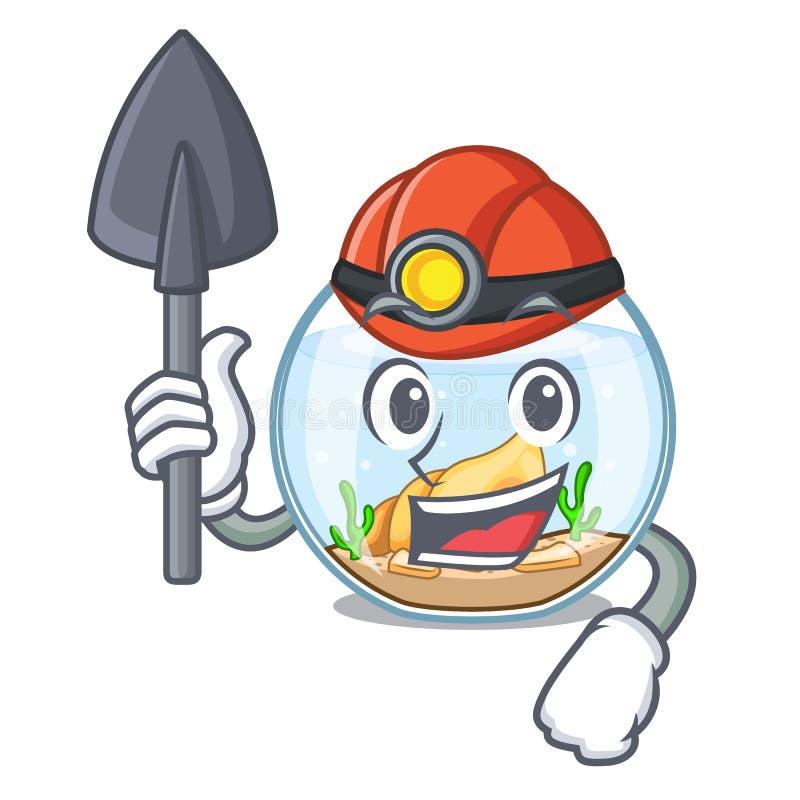 Fishbowl del minero que salta fuera de en carácter libre illustration