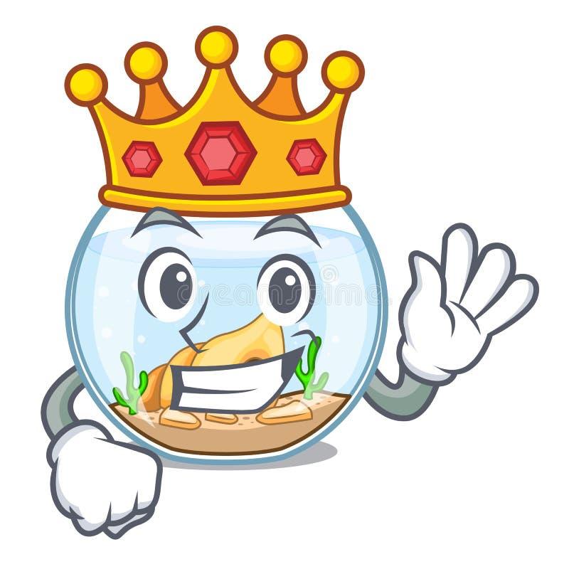 Fishbowl del rey en un divertido en historieta ilustración del vector