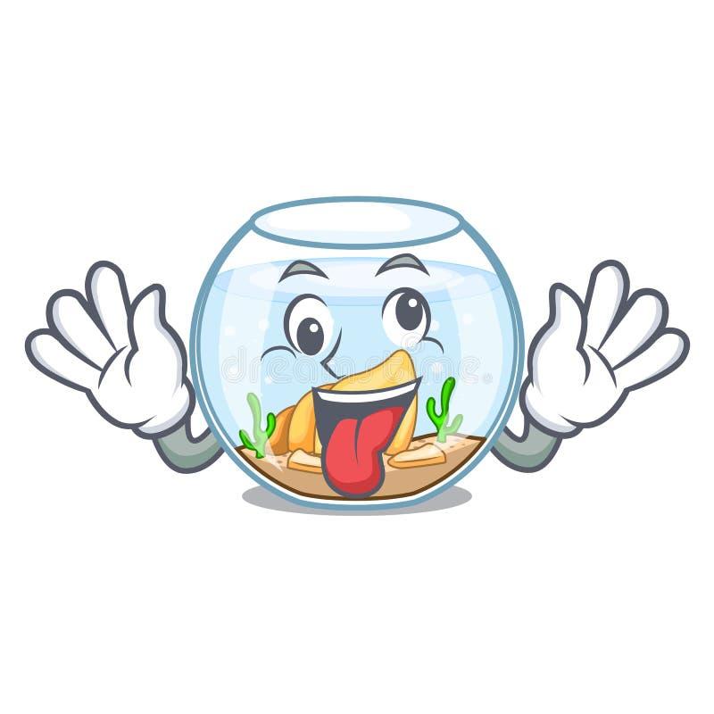 Fishbowl loco en un divertido en historieta stock de ilustración