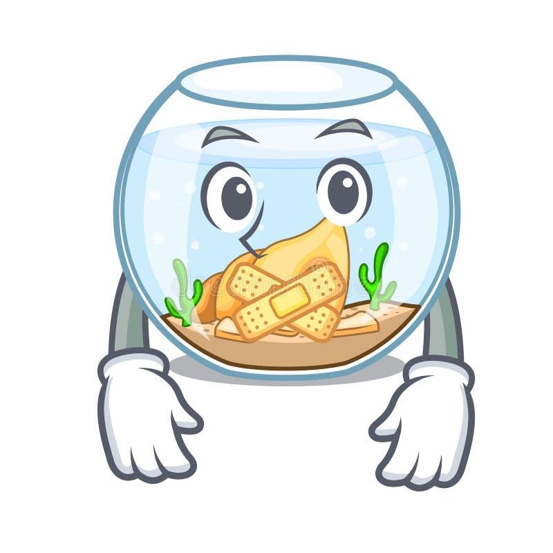 Fishbowl silencioso en un divertido en historieta ilustración del vector