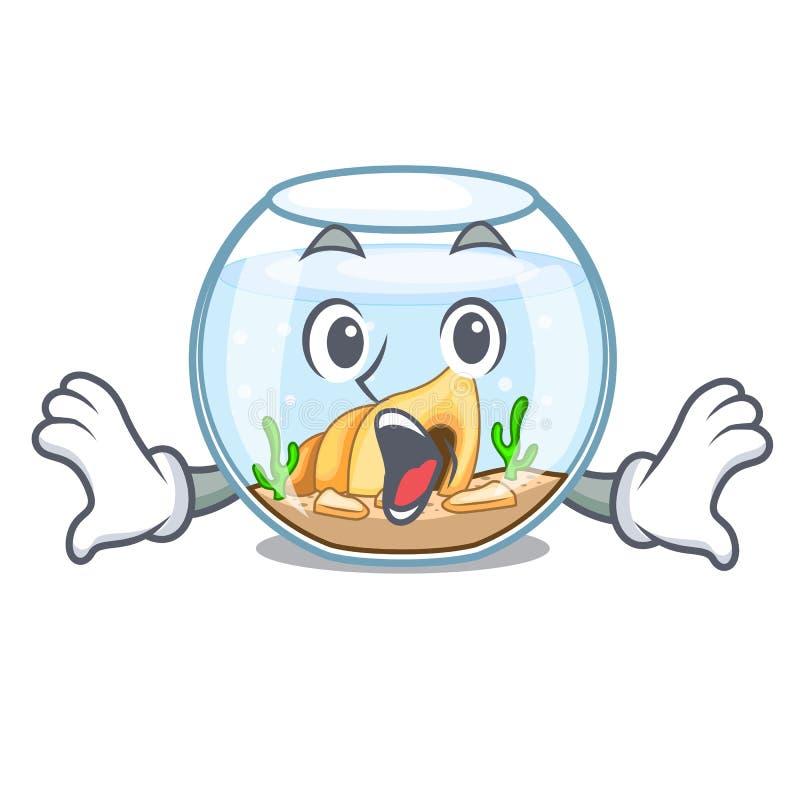 Fishbowl sorprendido que salta fuera de en carácter stock de ilustración