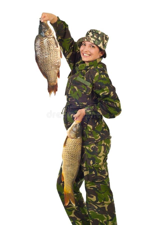 fisher удит женщину счастливого удерживания большую стоковые изображения