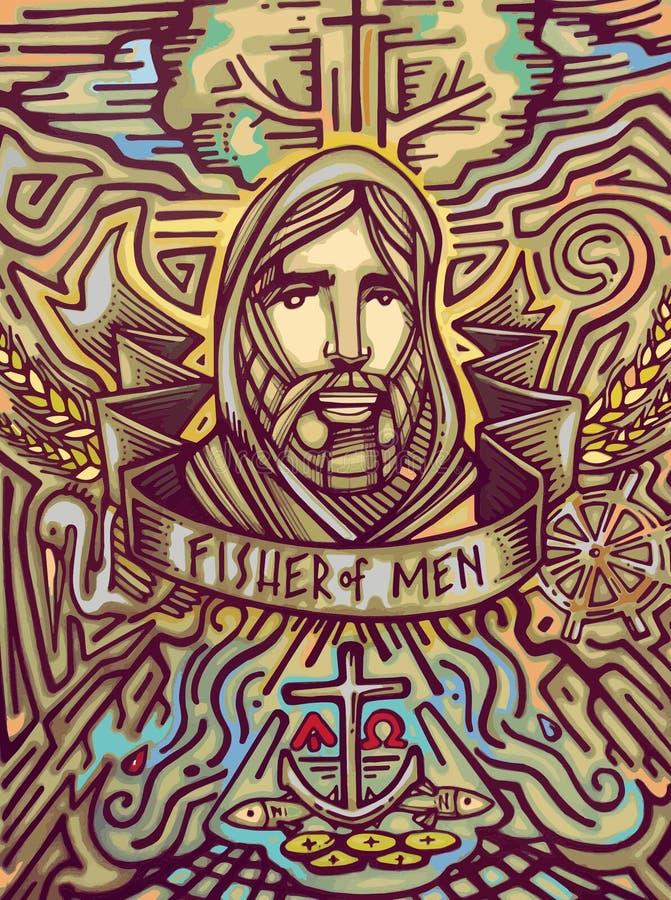 Fisher av män royaltyfri illustrationer