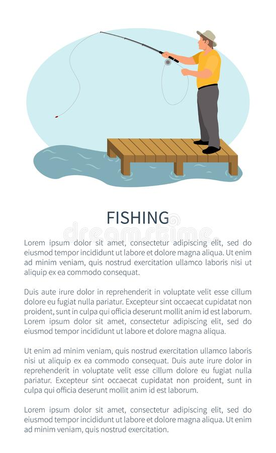 Fisher avec la position de rotation sur Pier Isolated illustration stock
