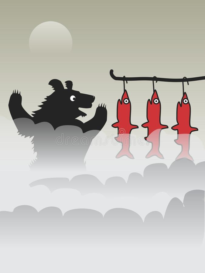 Fisher. The bear is frying salmon at the stake. Vector format royalty free illustration