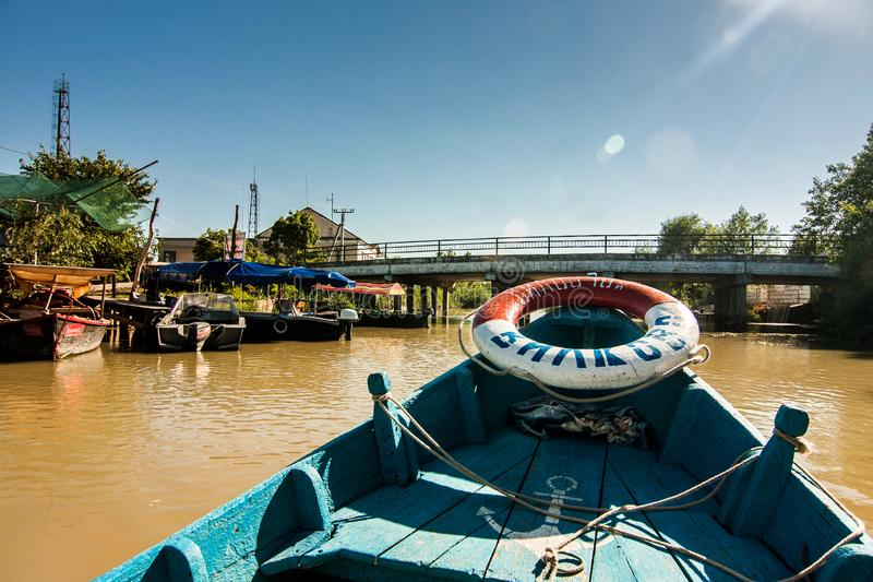 Fisher boat on Danube river stock images