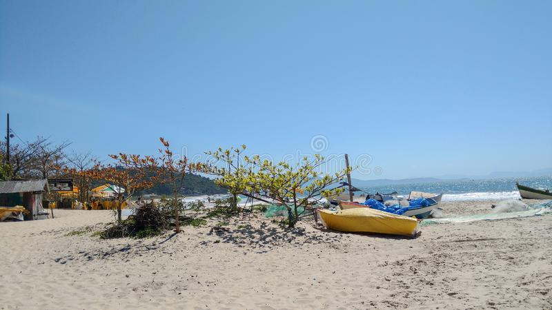 Fisher boat of lagoinha do leste in Florianopolis Brazil royalty free stock photo