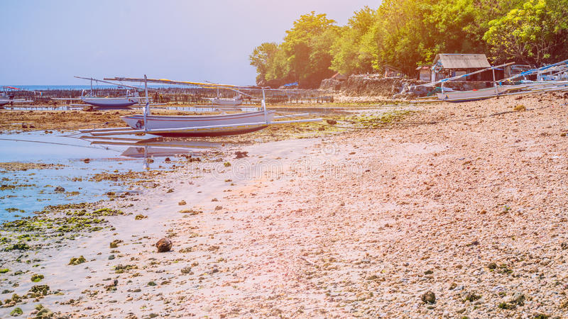 Fisher Boats at low tide near seaweed plantations algal by noon - Nusa Penida, Bali, Indonesia.  royalty free stock photography