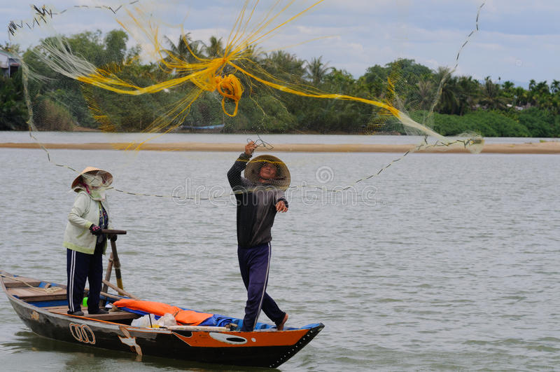 Fisher casting his net royalty free stock images