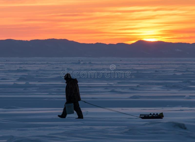 Fisher do inverno imagens de stock royalty free