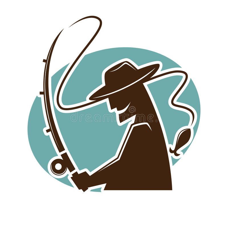Fisher or fish vector isolated silhouette icon for fishing club royalty free illustration