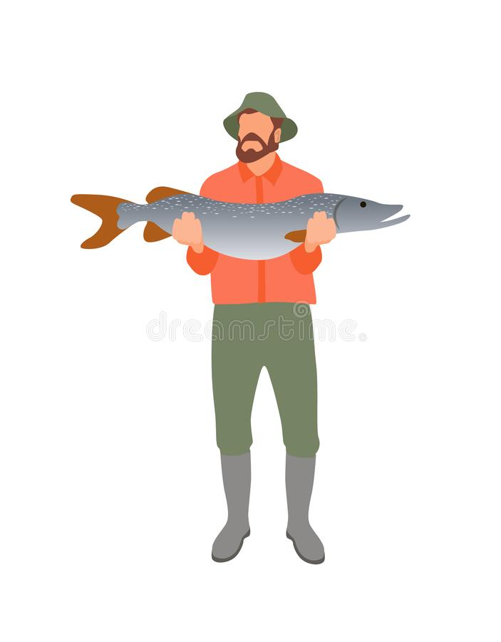 Fisher with Huge Catch Isolated on White Poster. Bearded man in special boots and trousers for fishing holding big pike, male hobby abstract banner vector illustration
