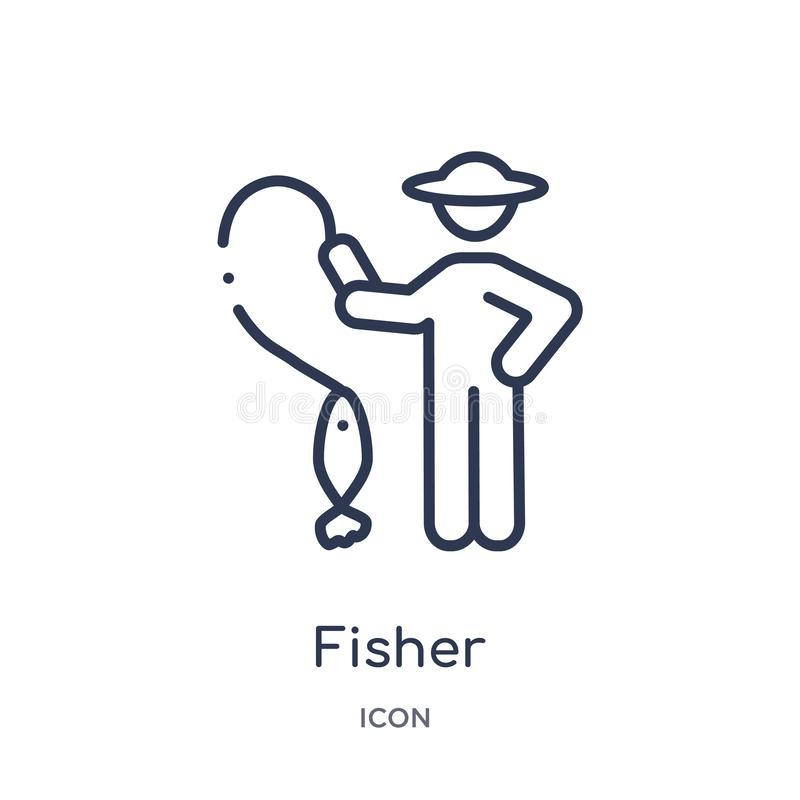Fisher icon from people skills outline collection. Thin line fisher icon isolated on white background stock illustration