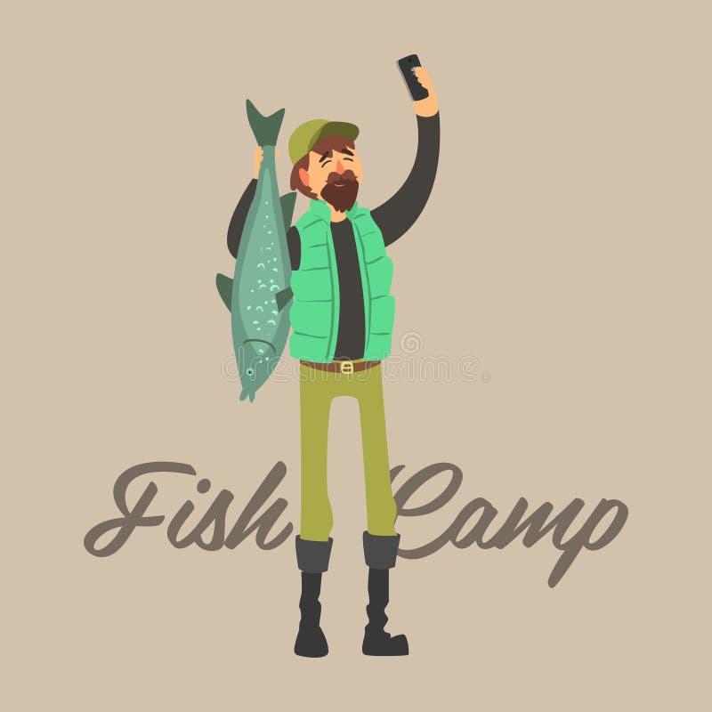Fisher Making een Selfie met Vissen Vector illustratiereeks royalty-vrije illustratie