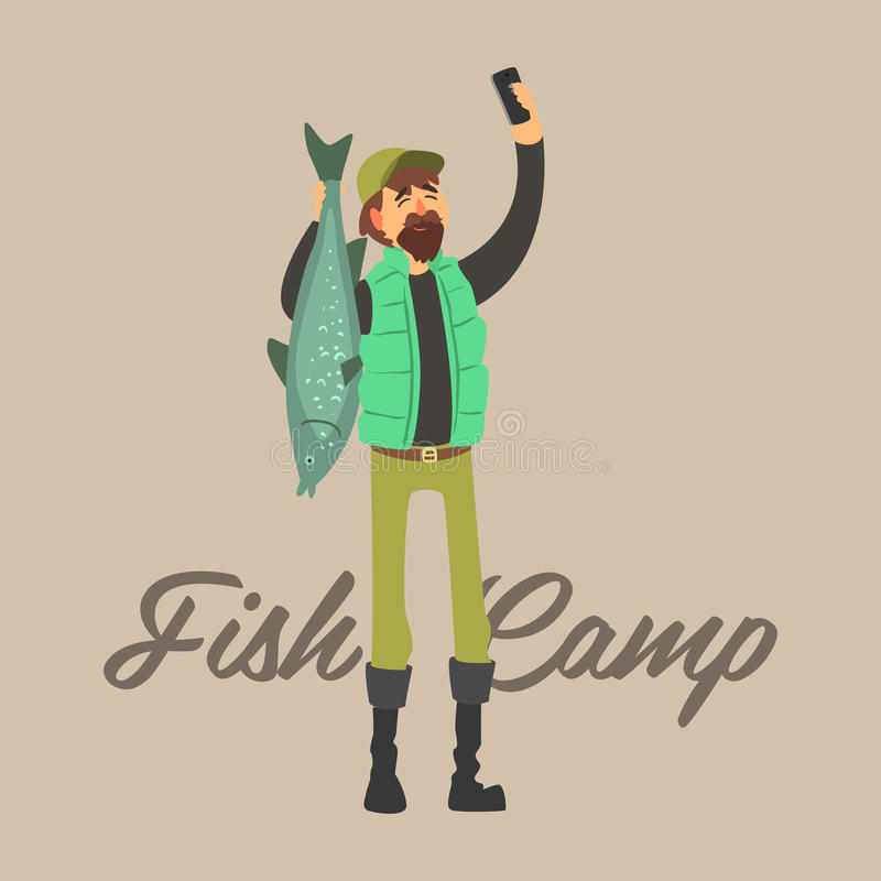 Fisher Making um Selfie com peixes Jogo da ilustração do vetor ilustração royalty free