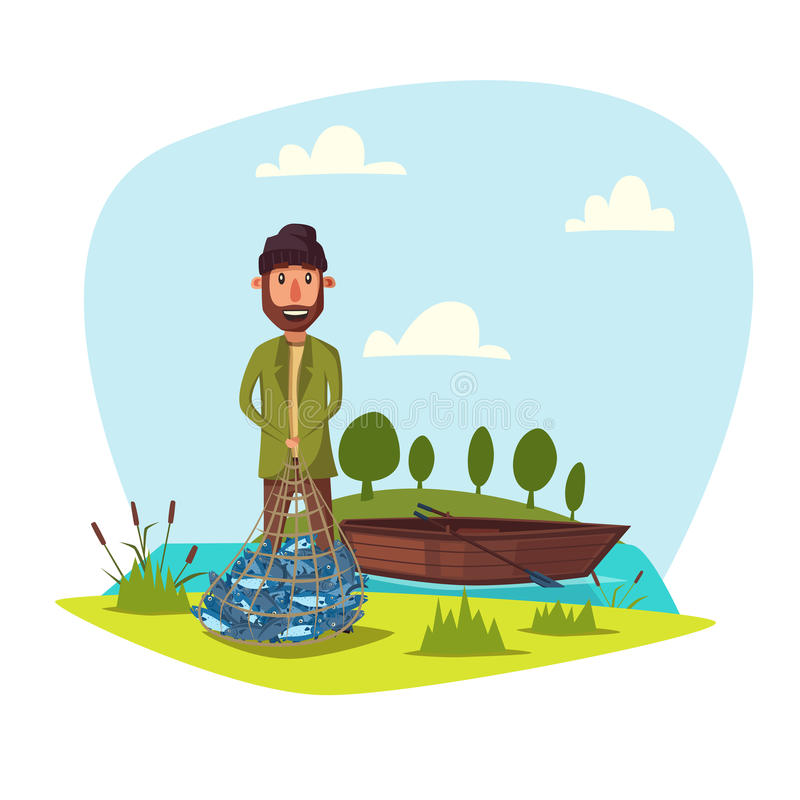 Fisher man with fish catch vector. Man on fishing with full net of big fish catch. Happy fisherman with fishing rod and wooden boat at lake or river. Fishery vector illustration