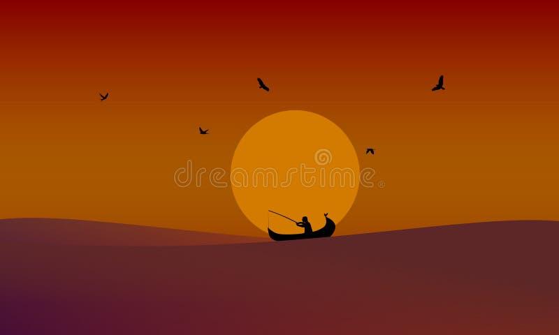 Fisher man som fångar fiskar i solnedgången vektor illustrationer