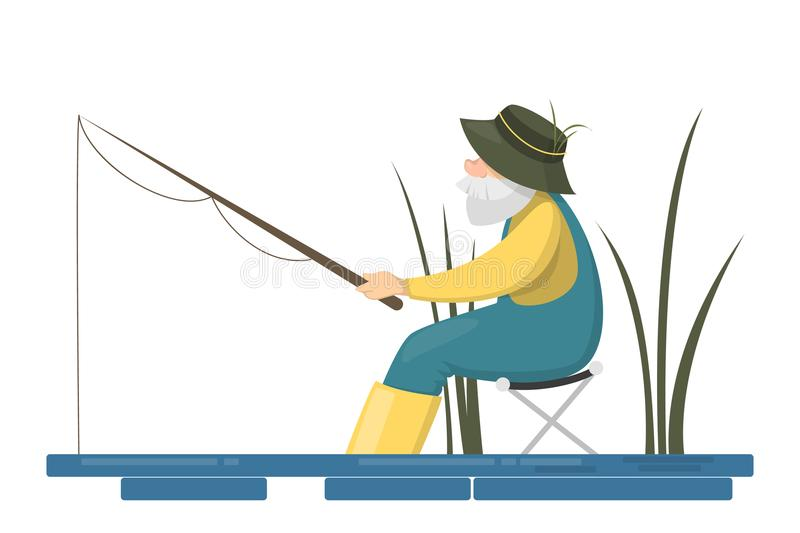 Fisher people set. stock illustration