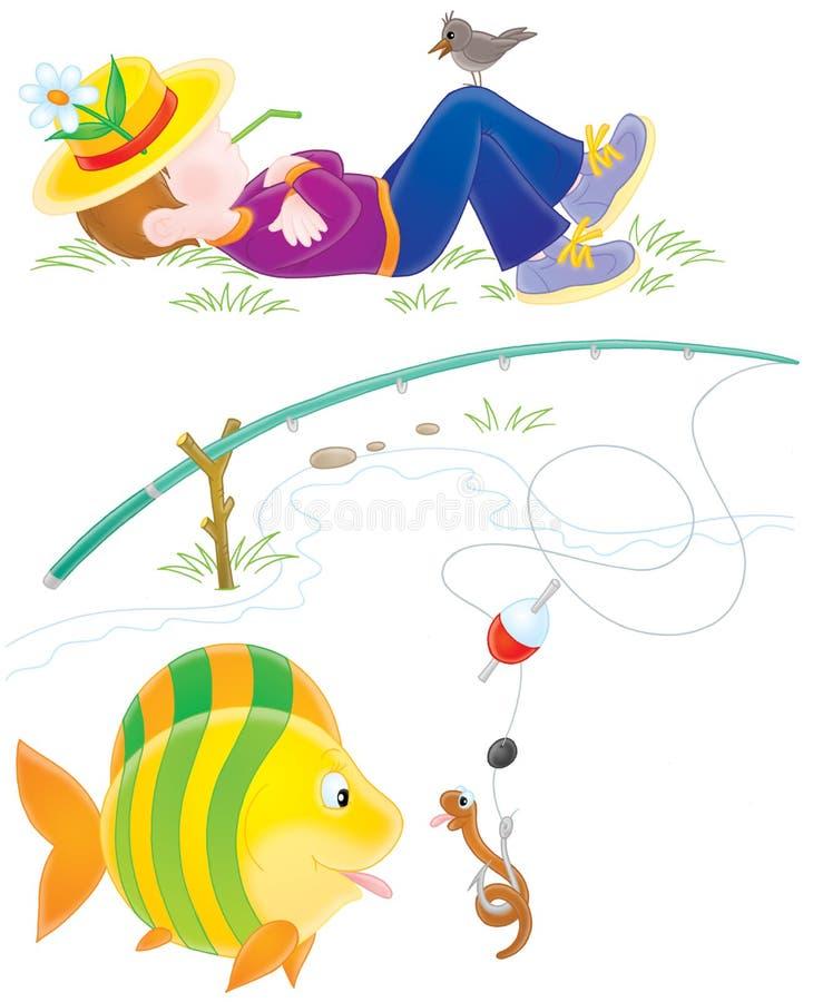 Fisher, poissons et ver de terre illustration de vecteur